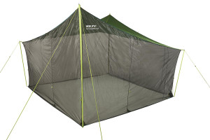 Kelty Noah's Screen 12 screen house, dark gray/green, with mesh side walls fully zipped