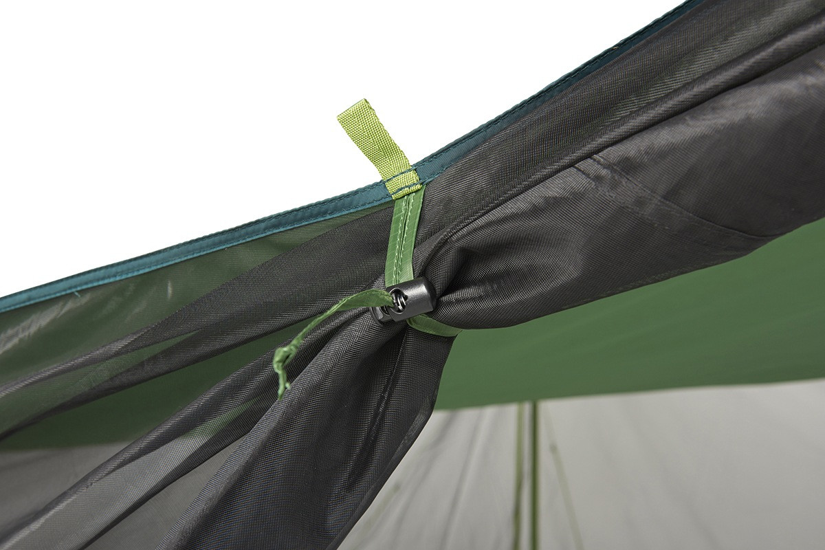 Close up of Kelty Noah's Screen 12 screen house, showing how rolled-up mesh side walls are secured with a nylon fastener