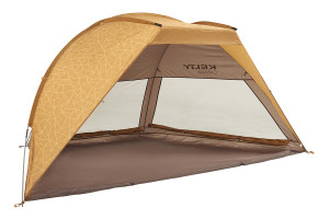 Kelty Cabana sun shelter, Tundra colorway, 3/4 view, with front wall rolled up