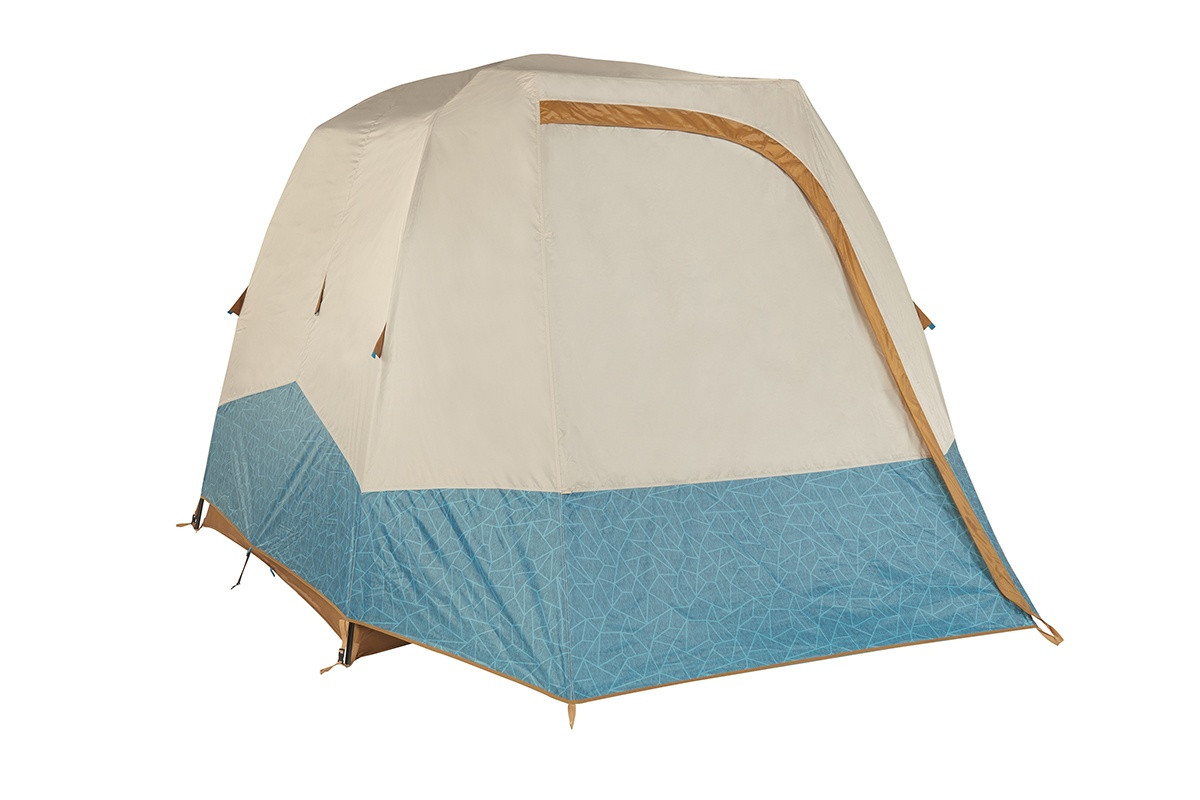Kelty Sequoia 4 person tent, shown with tan/teal rain fly attached and fully closed