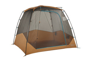 Kelty Sequoia 4 person tent, brown, front view, with rain fly removed