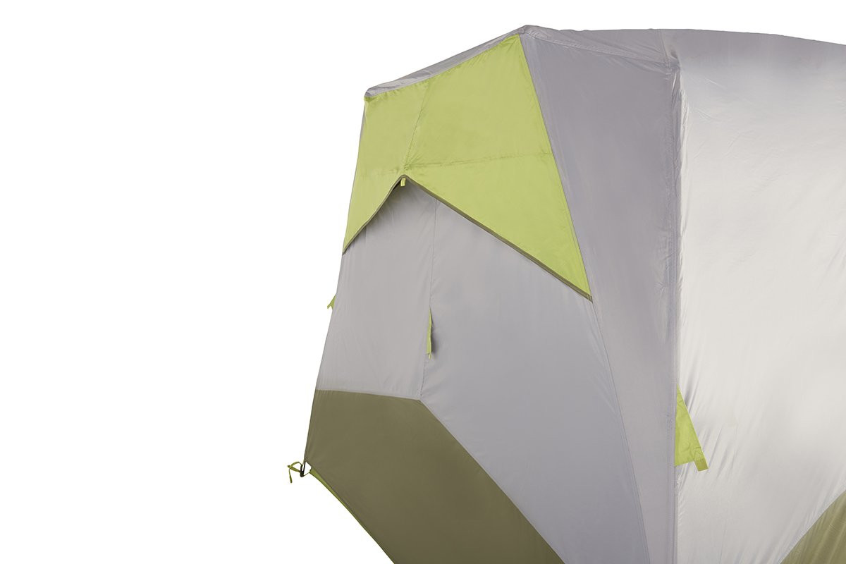 Close up of Kelty Sequoia 6 person tent, showing how tent allows air flow through nylon side vent