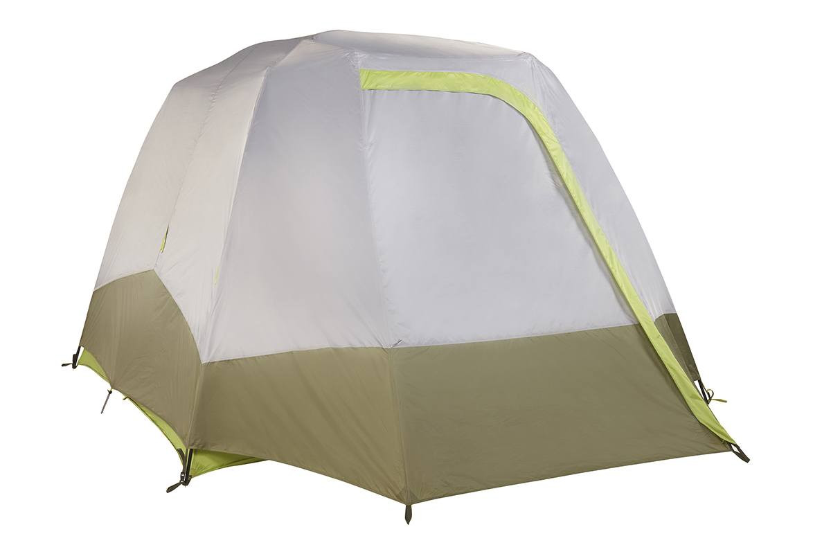 Kelty Sequoia 6 person tent, shown with gray/tan rain fly attached and fully closed