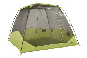 Kelty Sequoia 6 person tent, green, front view, with rain fly removed