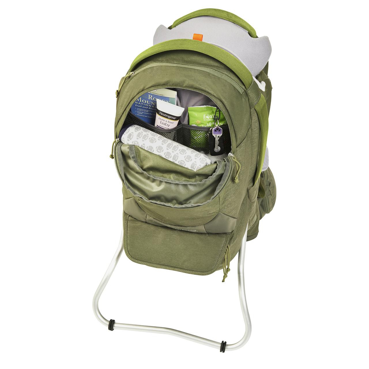Kelty Journey PerfectFIT Signature child carrier backpack, Moss Green, front view, with upper storage compartment unzipped