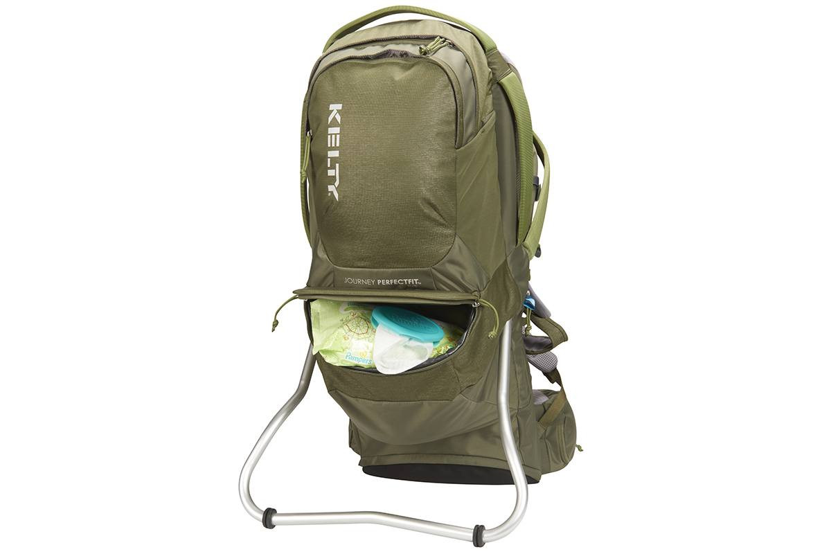 Kelty Journey PerfectFIT Elite child carrier backpack, Moss Green, front view, with lower storage compartment unzipped