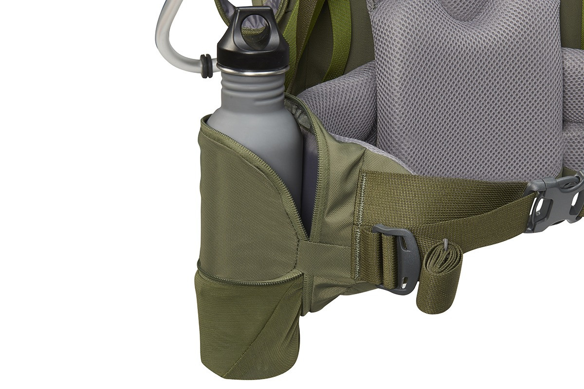 Close up of Kelty Journey PerfectFIT Elite child carrier backpack, showing large water bottle in side pocket