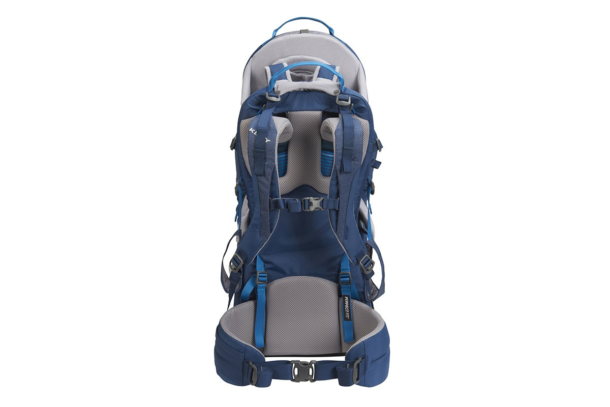 Kelty Journey PerfectFIT child carrier backpack, Insignia Blue, rear view, showing padded shoulder straps and waist belt