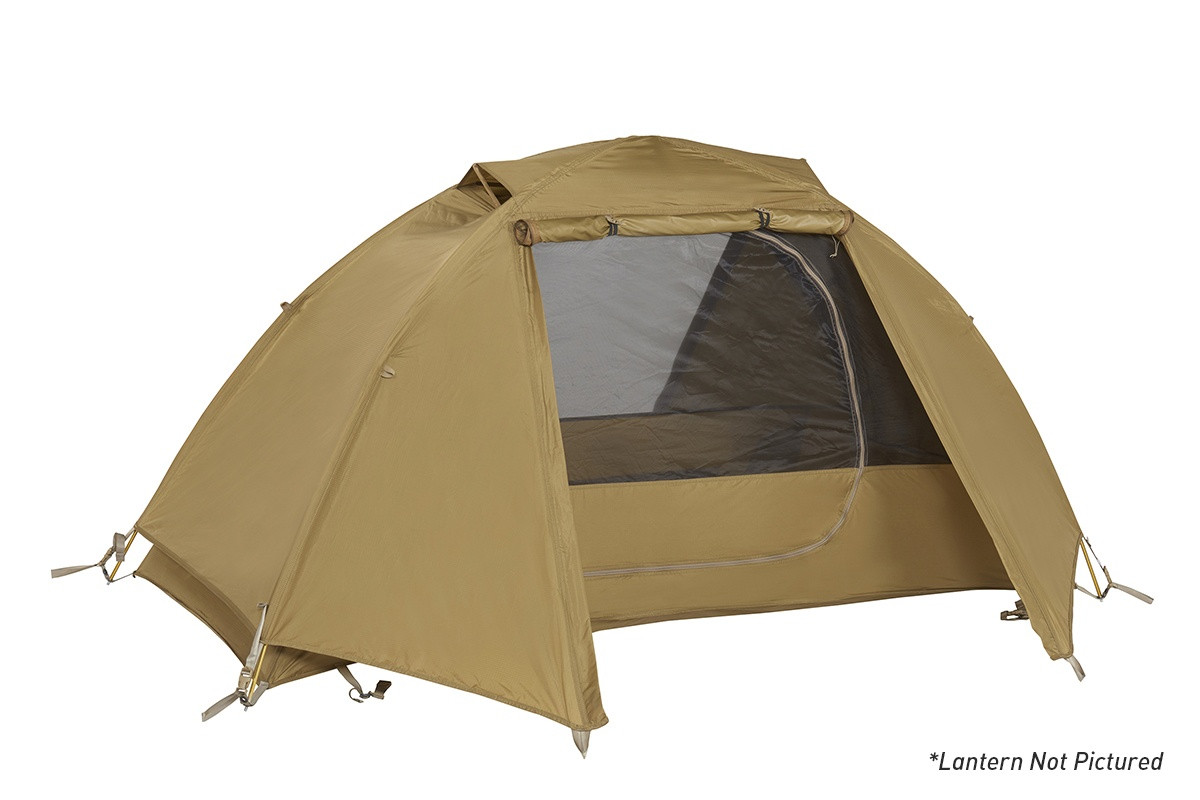 Kelty 2 Man Field Tent With Lantern Coyote Brown with rain fly attached and opened