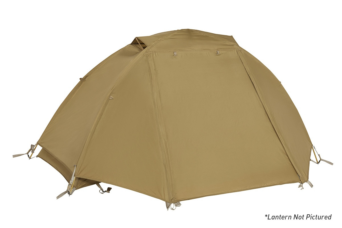 Kelty 2 Man Field Tent With Lantern Coyote Brown with rain fly attached and closed