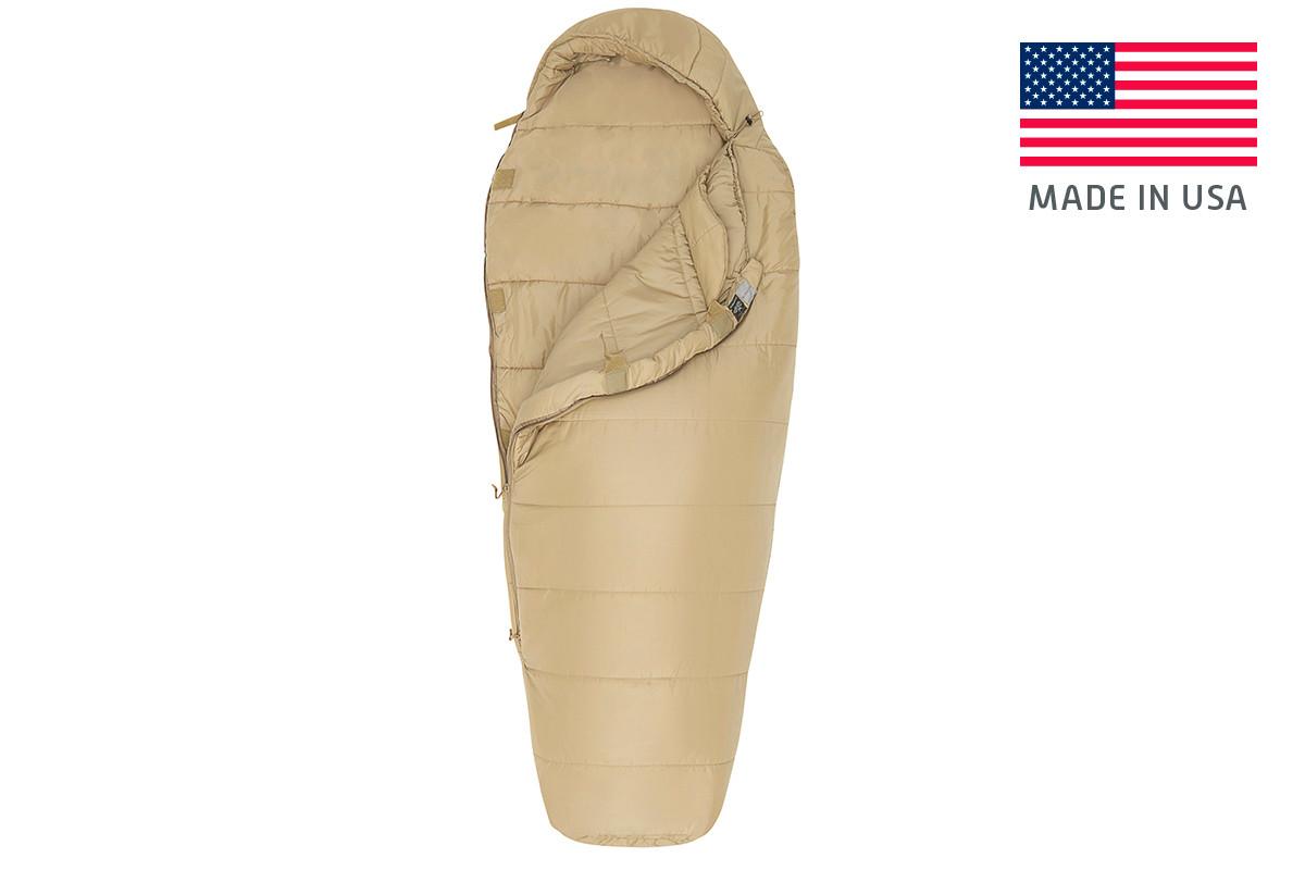 Kelty Tactical 0 Degree Field Bag, tan, shown unzipped quarter length