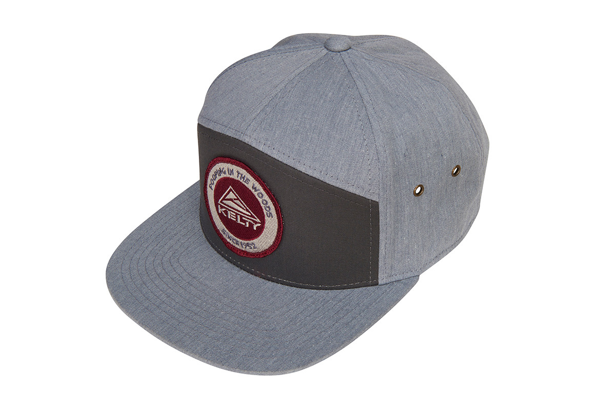 Kelty 7 Panel PITW Hat, dark gray/light gray, with embroidered Kelty logo and 'Pooping in the woods since 1952' text, overhead view