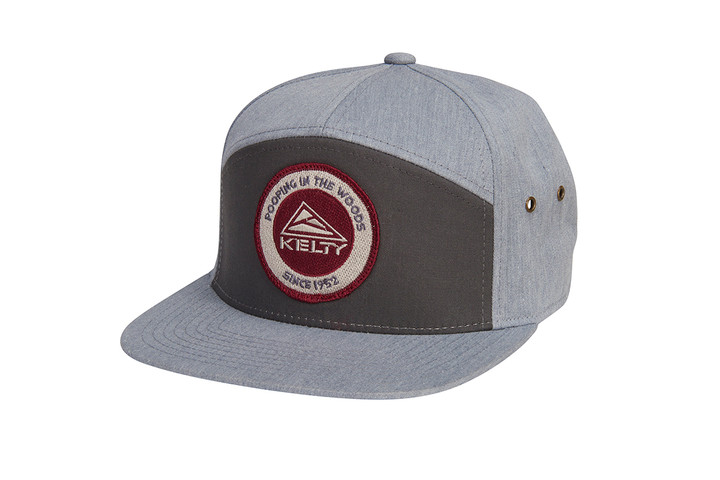 Kelty 7 Panel PITW Hat, dark gray/light gray, with embroidered Kelty logo and 'Pooping in the woods since 1952' text, 3/4 view