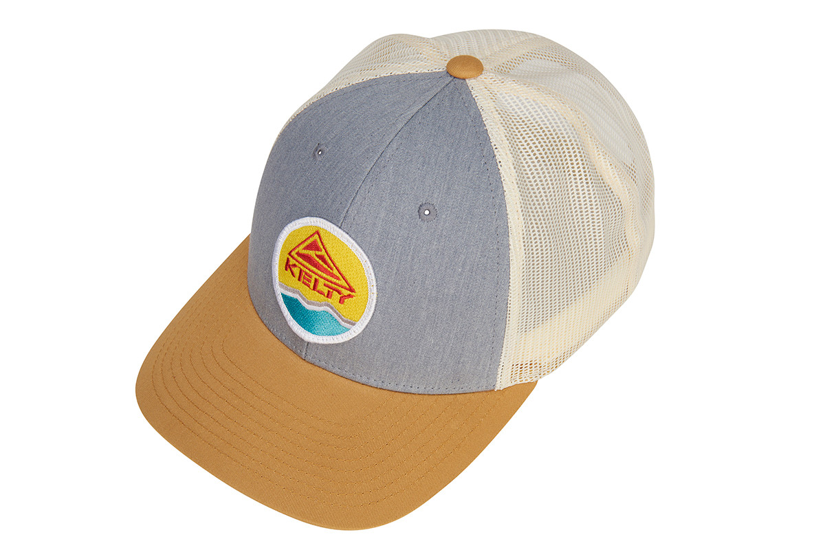 Kelty Mountain Trucker Hat, light gray/off white, with colorful embroidered Kelty logo, overhead view