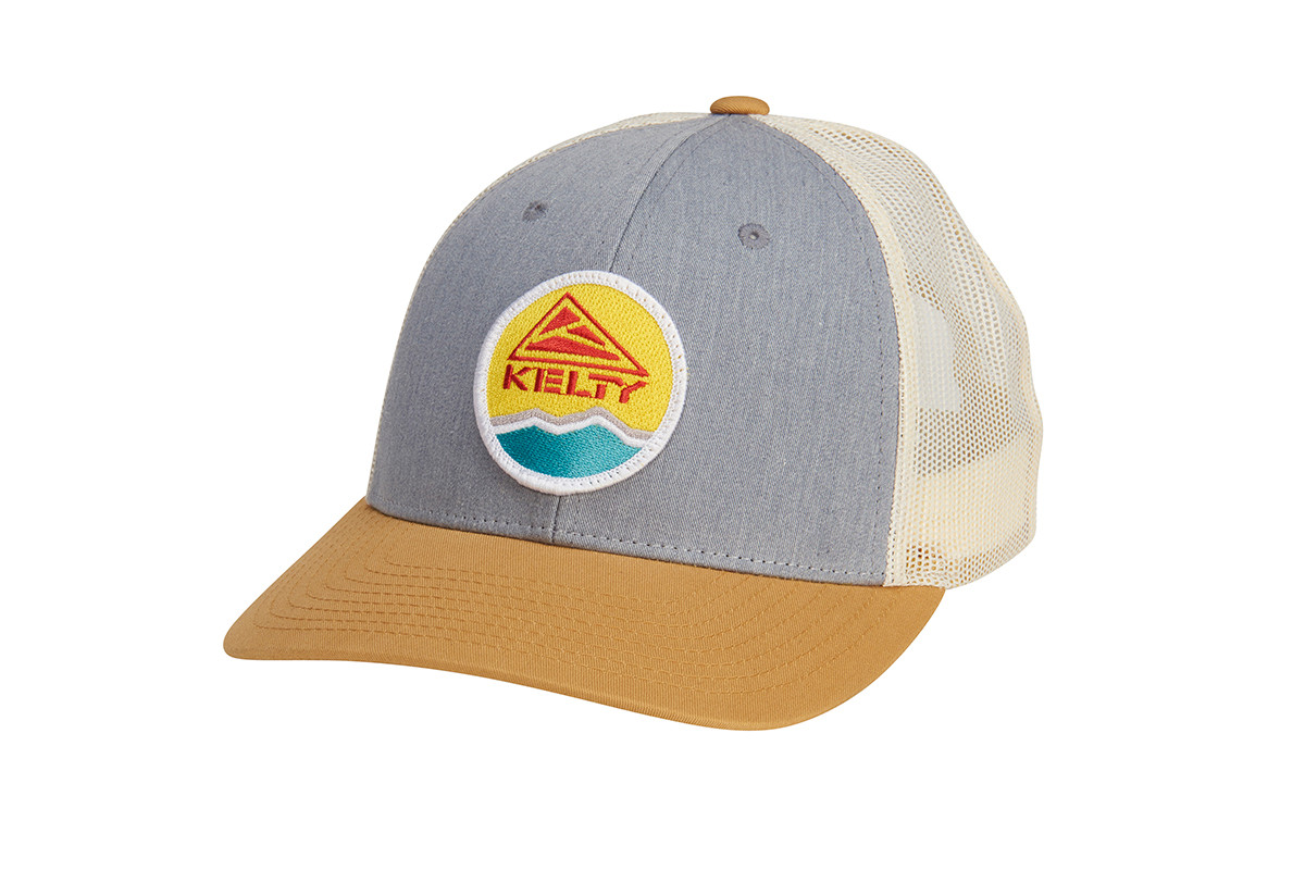 Kelty Mountain Trucker Hat, light gray/off white, with colorful embroidered Kelty logo, 3/4 view