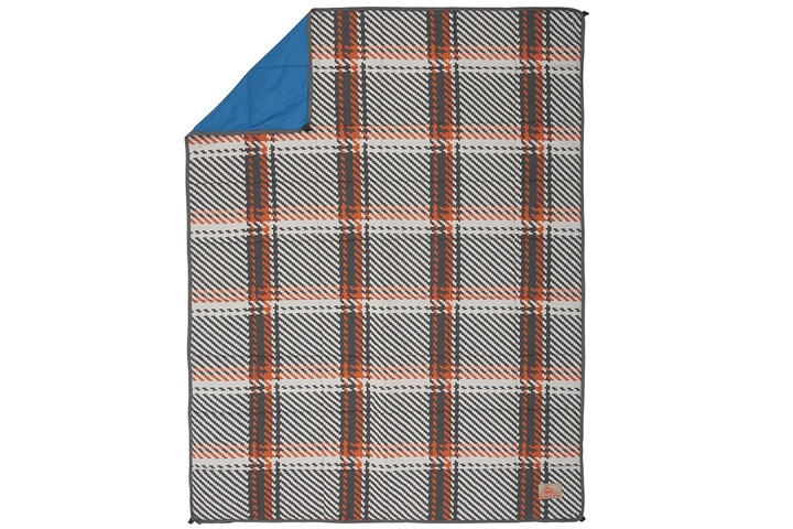 Kelty Bestie BFF Blanket in Plaid/Lyons Blue colorway, top view