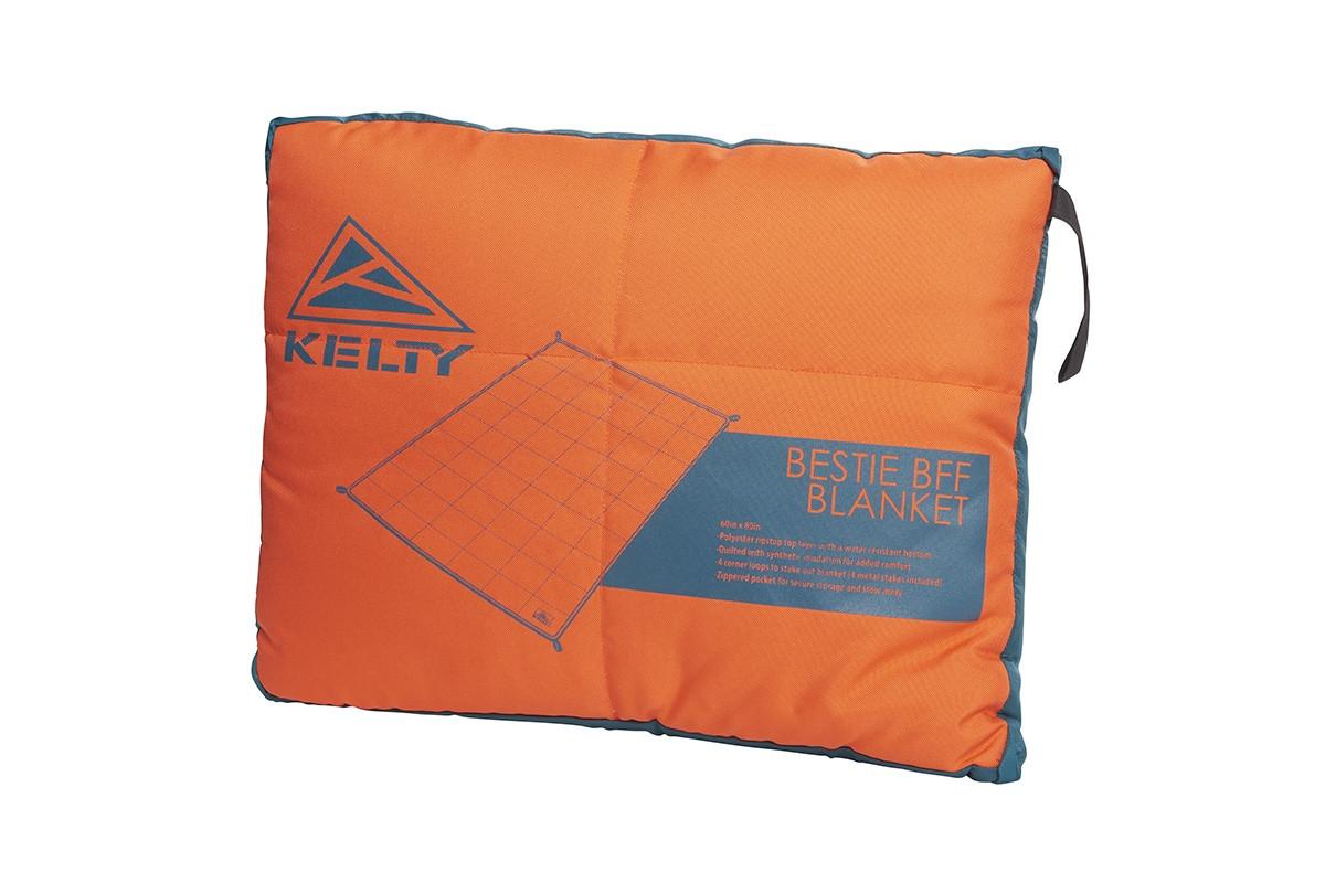 Kelty Bestie BFF Blanket in Deep Teal/Mandarin Red colorway, packed in its stuff sack
