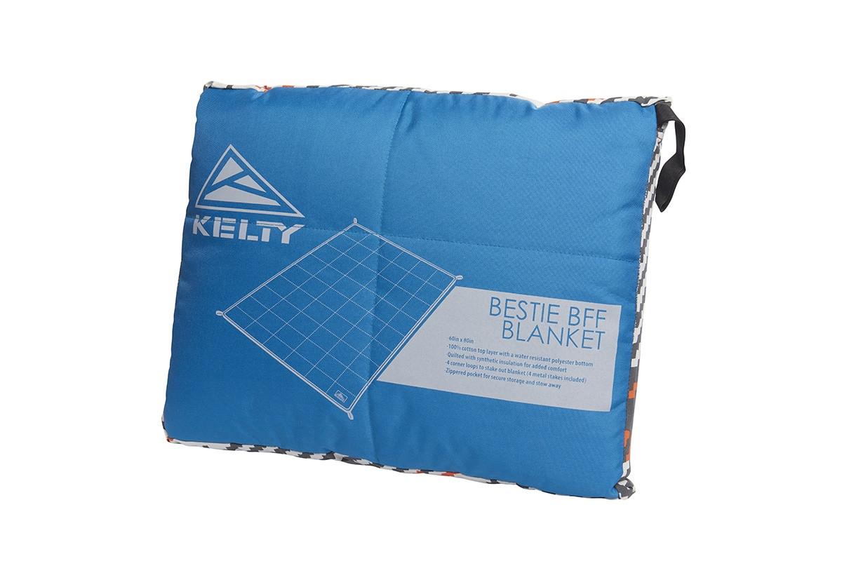 Kelty Bestie BFF Blanket in Plaid/Lyons Blue colorway, packed in its stuff sack