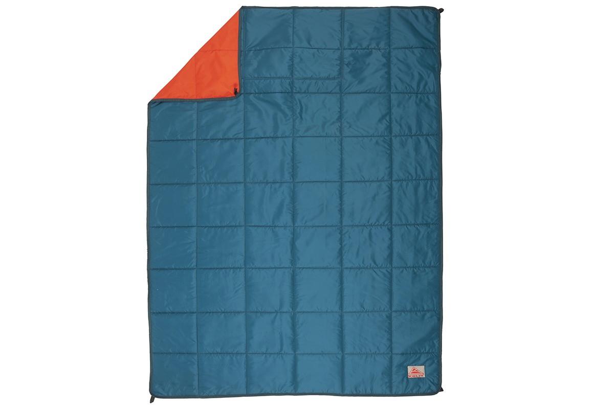 Kelty Bestie BFF Blanket in Deep Teal/Mandarin Red colorway, top view