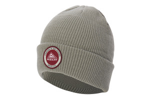 Kelty PITW Beanie, gray, with Kelty logo encircled by 'Pooping in the Woods Since 1952' text