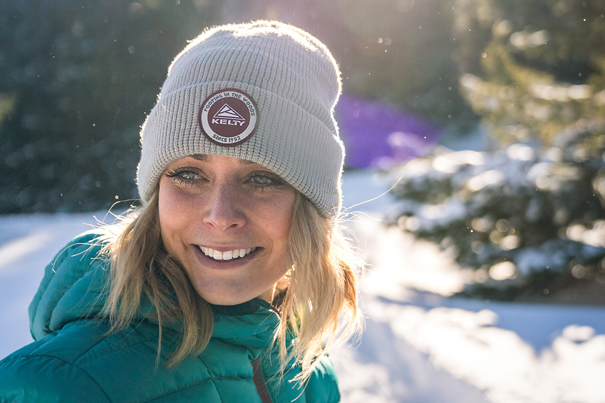 Woman wearing Kelty PITW Beanie in the woods