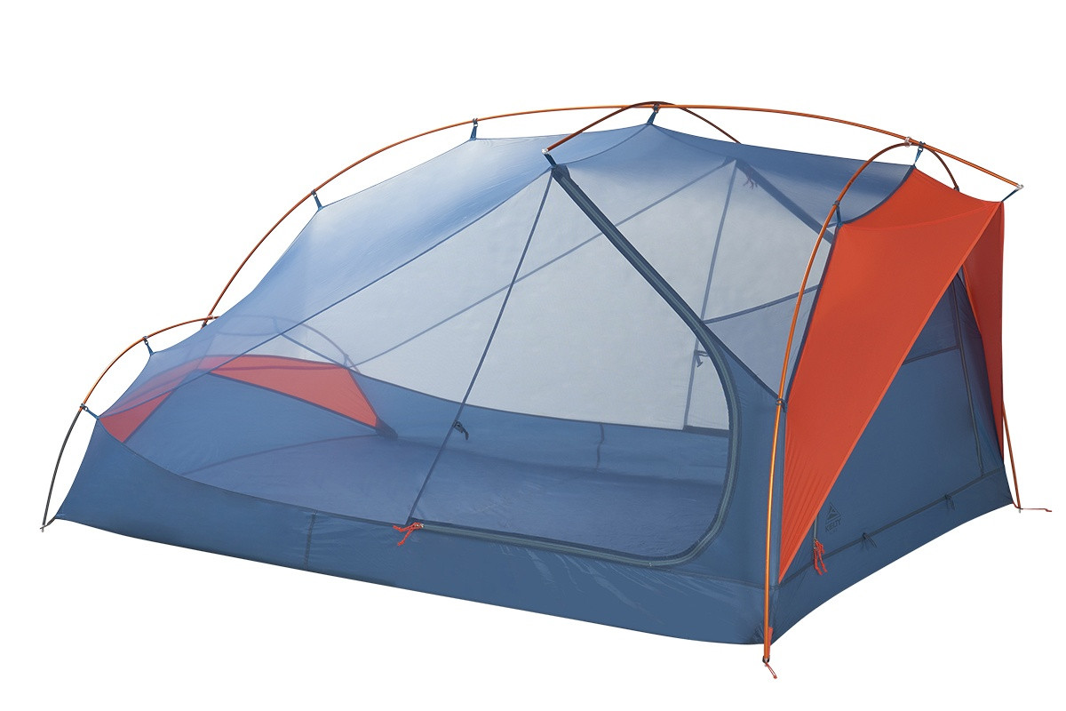 Kelty All Inn 3 Person Tent, blue colorway, side view with rain fly removed