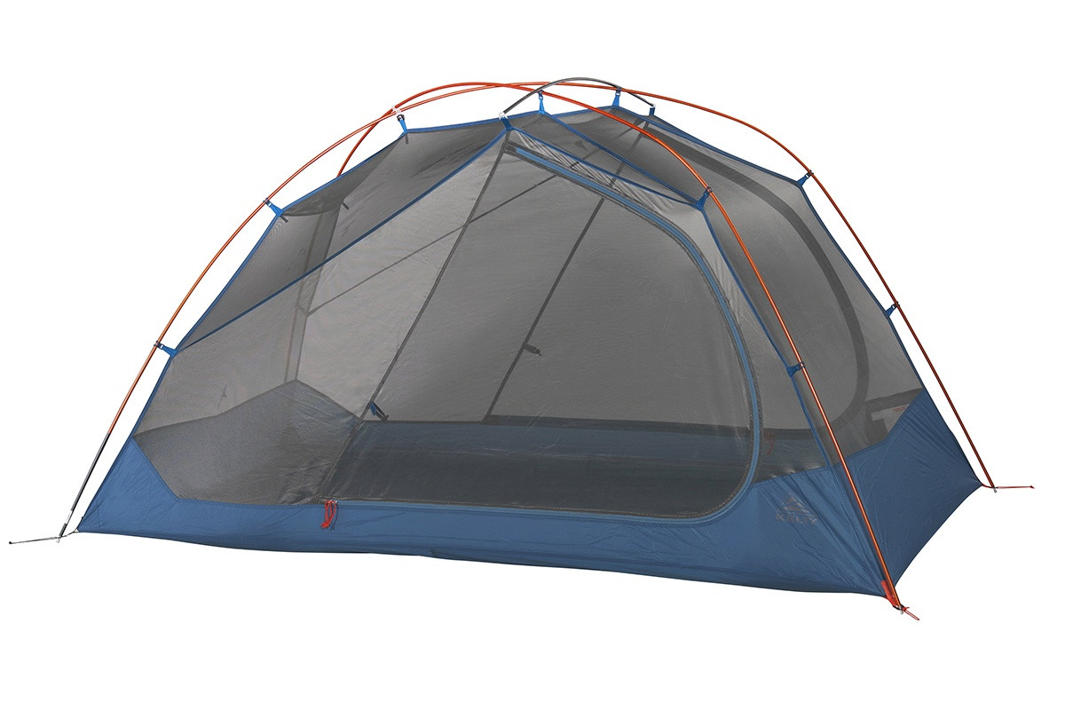 Kelty Dirt Motel 2 person tent, blue, side view, with rain fly removed