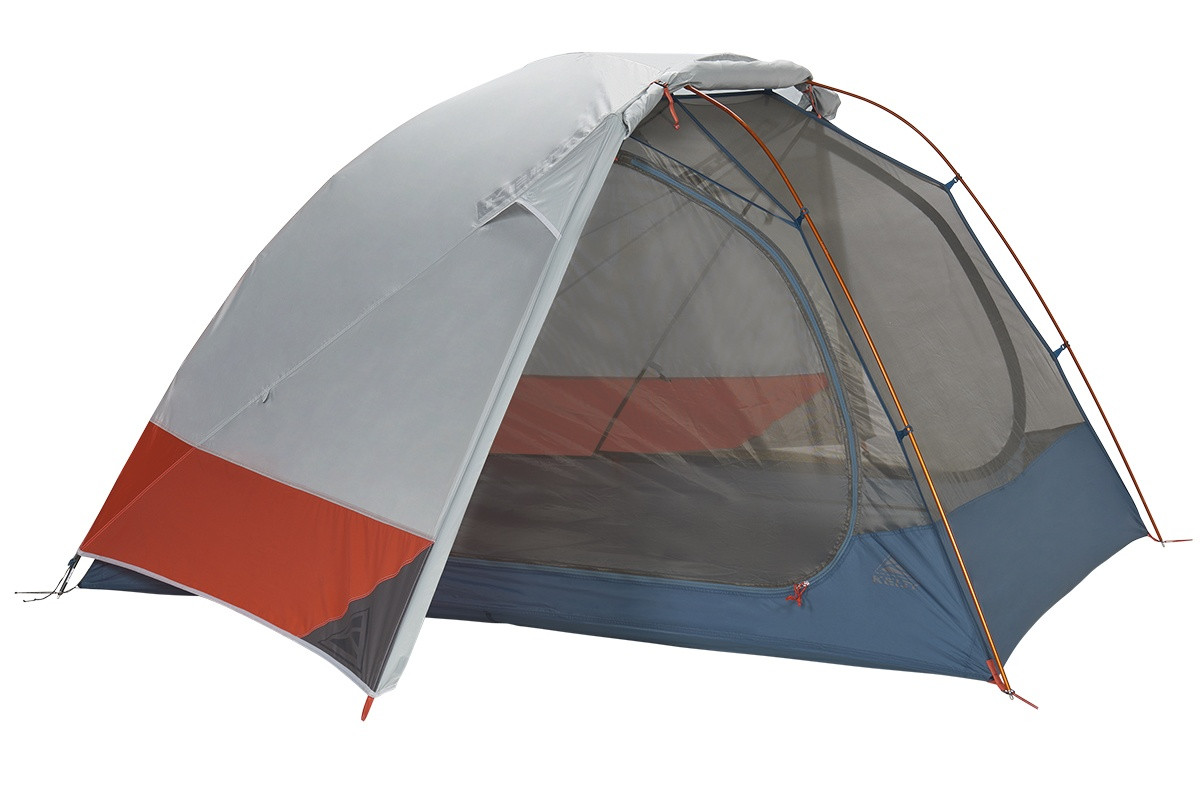 Kelty Dirt Motel 3 person tent, blue, side view, with rain fly attached and partially opened