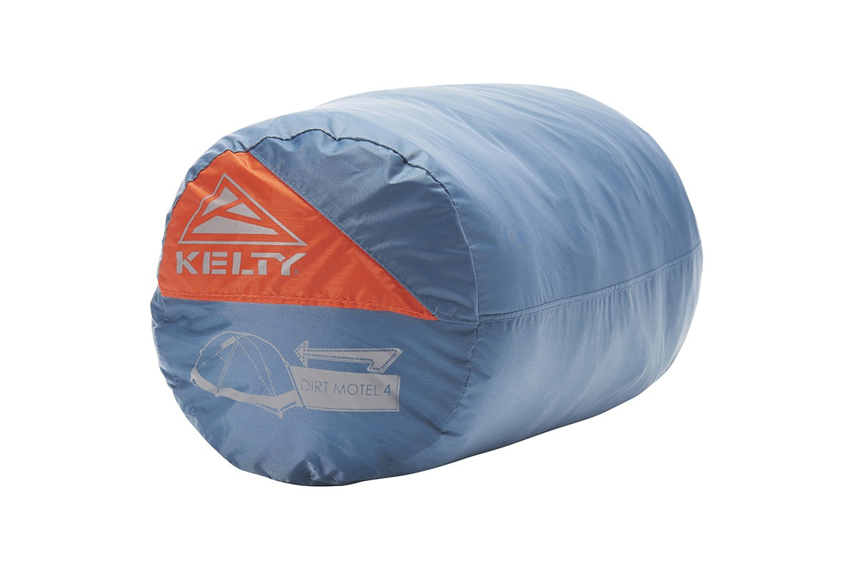 Kelty Dirt Motel 4 person tent packed inside blue cylinder-shaped storage bag