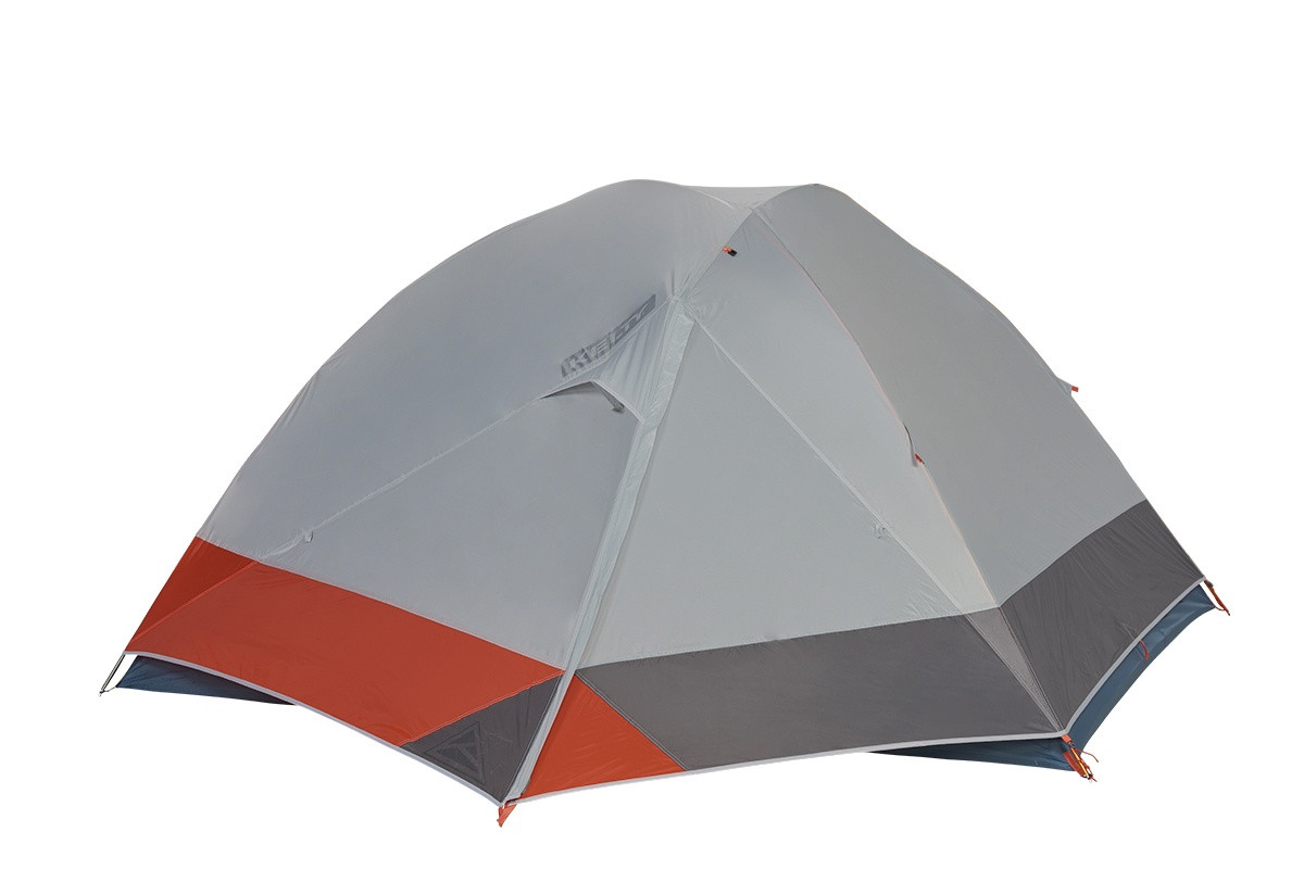 Kelty Dirt Motel 4 person tent, blue, side view, with rain fly attached and fully closed