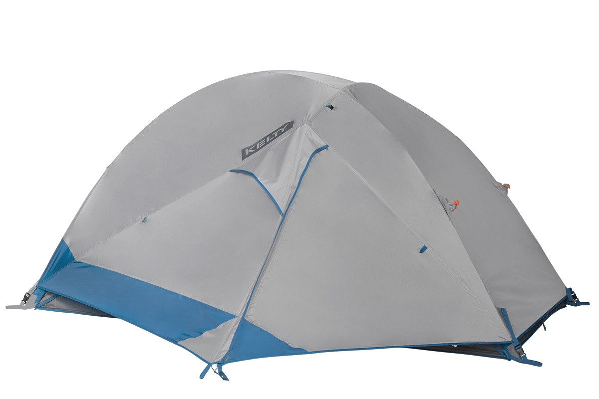 Kelty Night Owl 2 person tent, blue, with white rain fly attached and fully closed