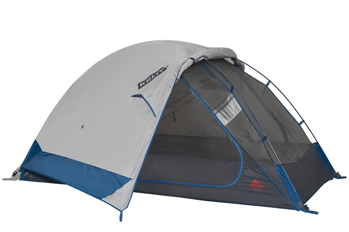 Kelty Night Owl 2 person tent, blue, with rain fly attached and partially rolled back