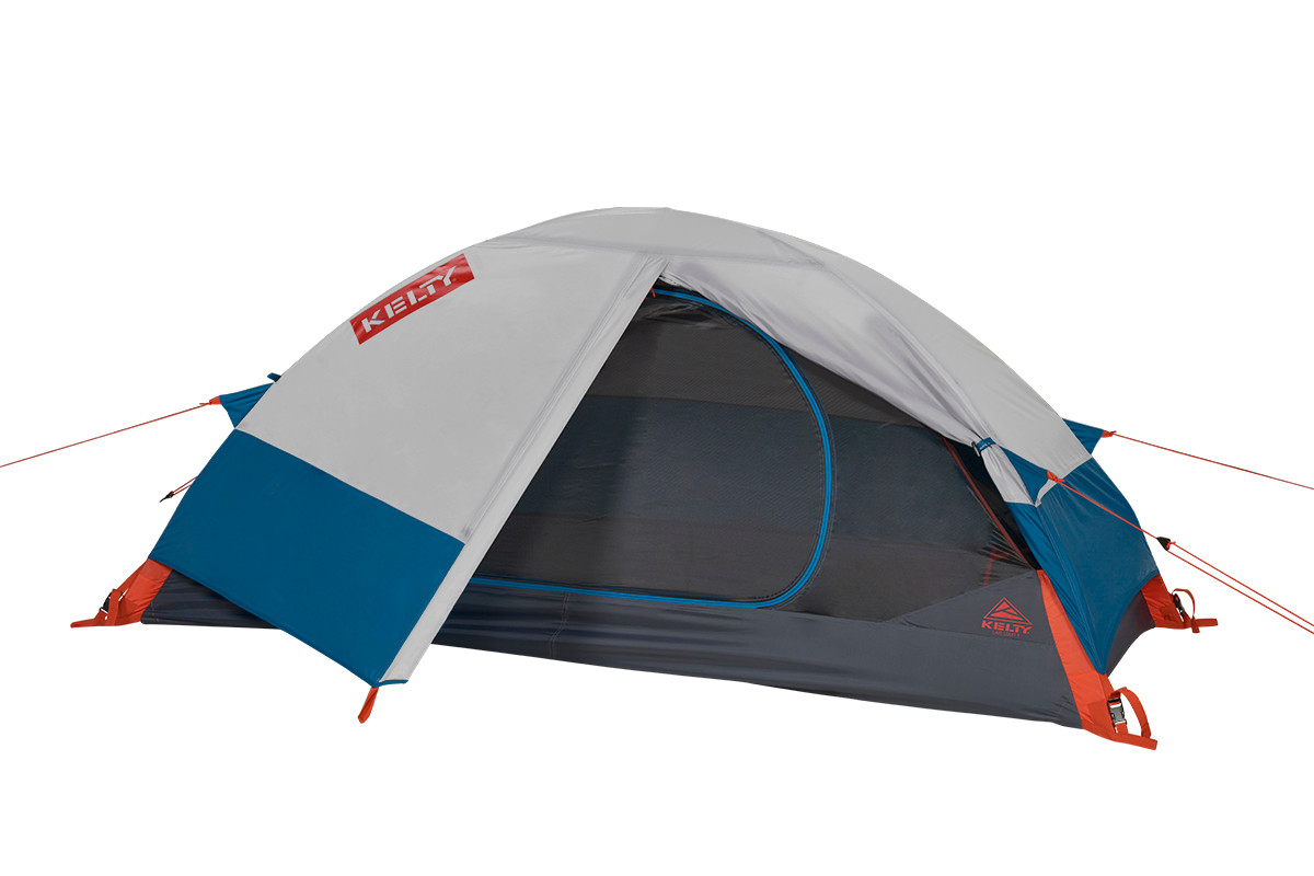 Kelty Late Start 1 person tent, dark gray, with white/blue rain fly attached and flap opened