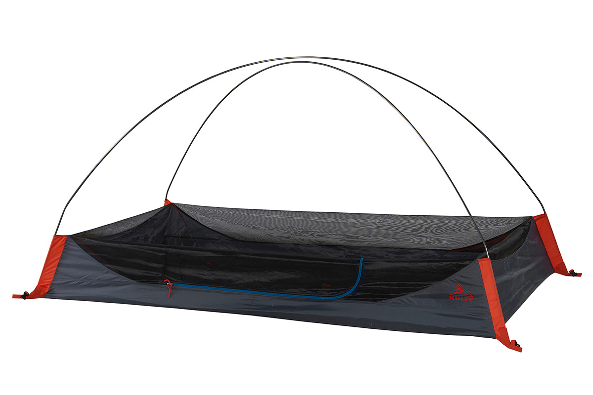 Kelty Late Start 2 person tent, partially assembled to show pre-bent pole configuration