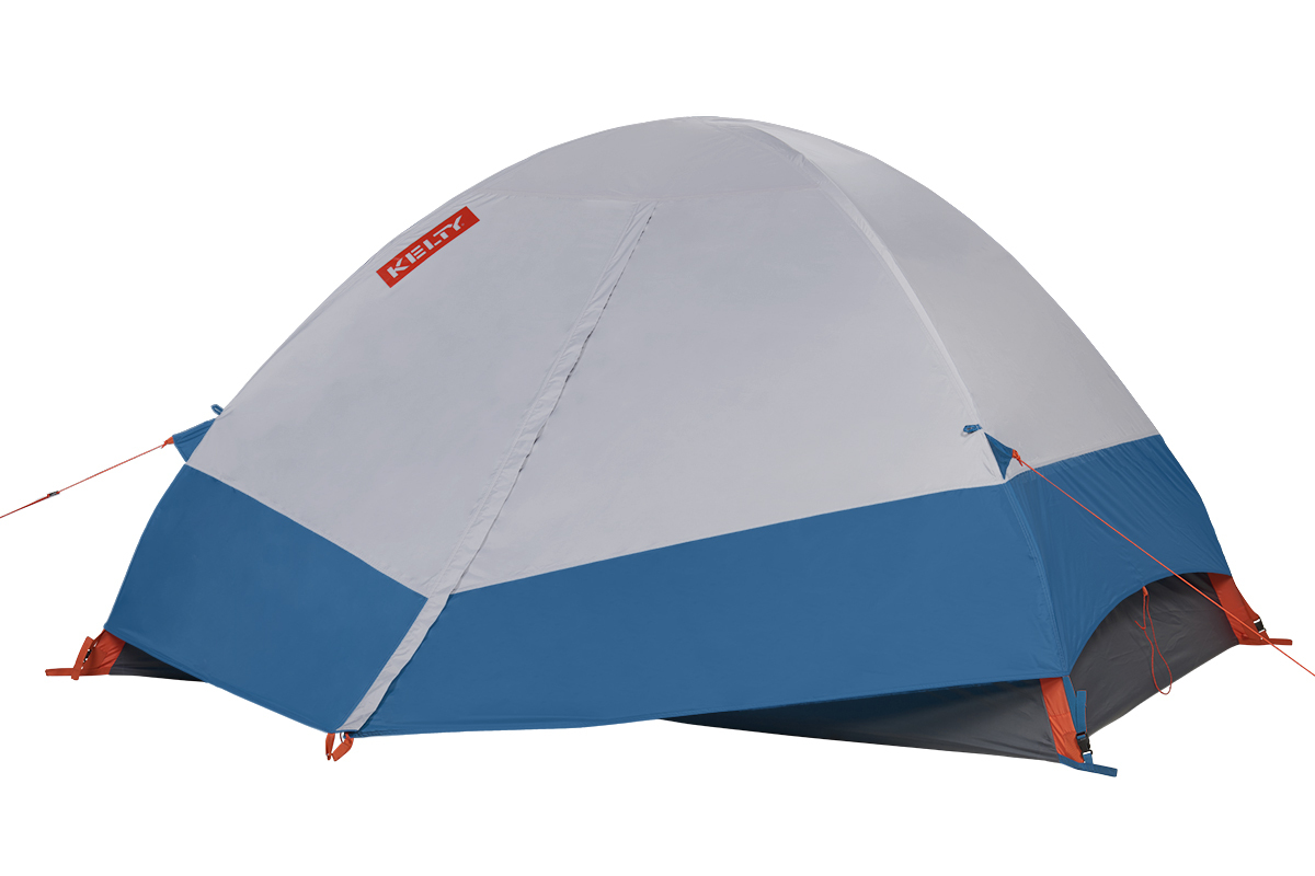 Kelty Late Start 4 person tent, dark gray, with white/blue rain fly attached and fully closed