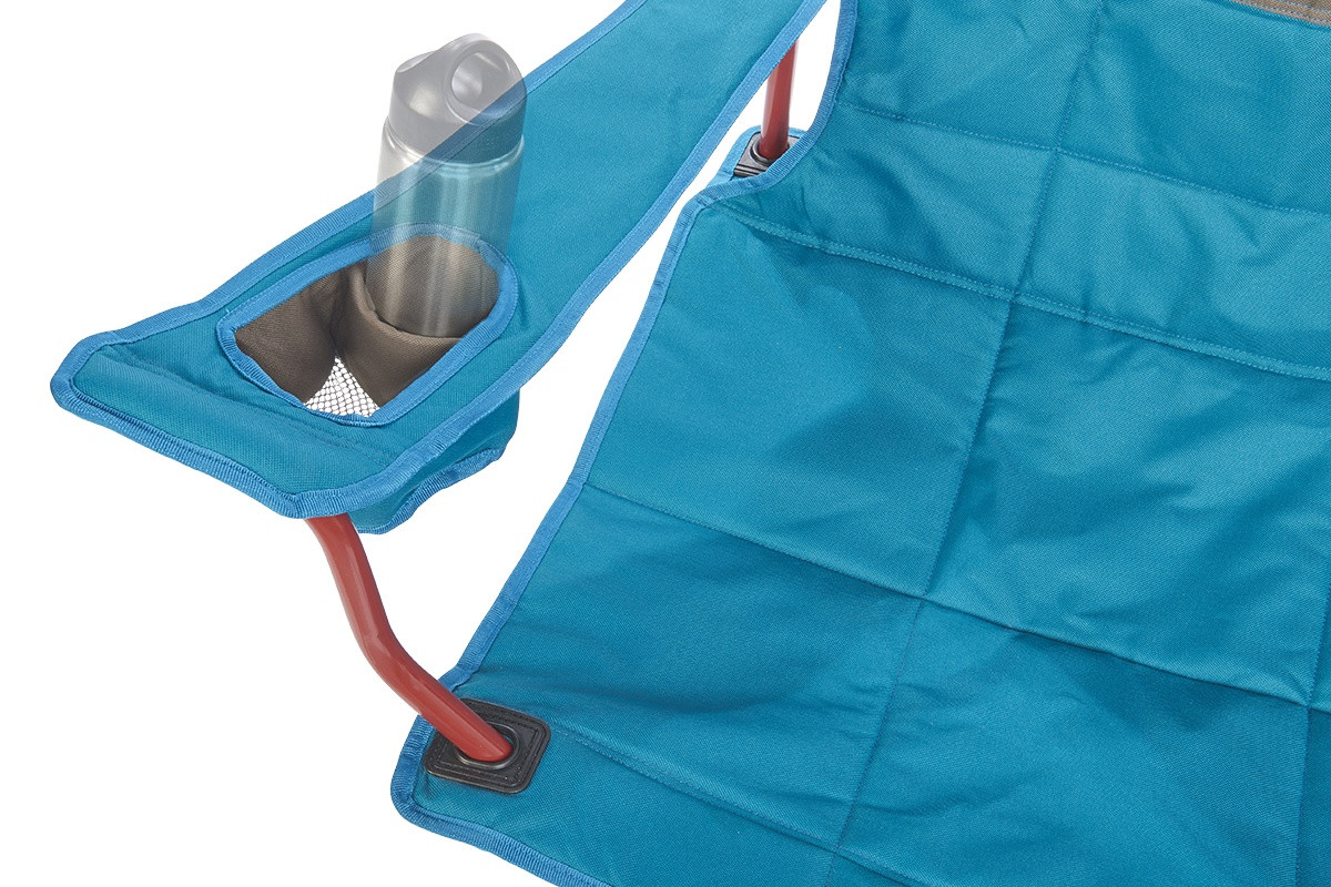 Close up of  Kelty Lowdown camping chair, Deep Lake, showing small water bottle in armrest pocket