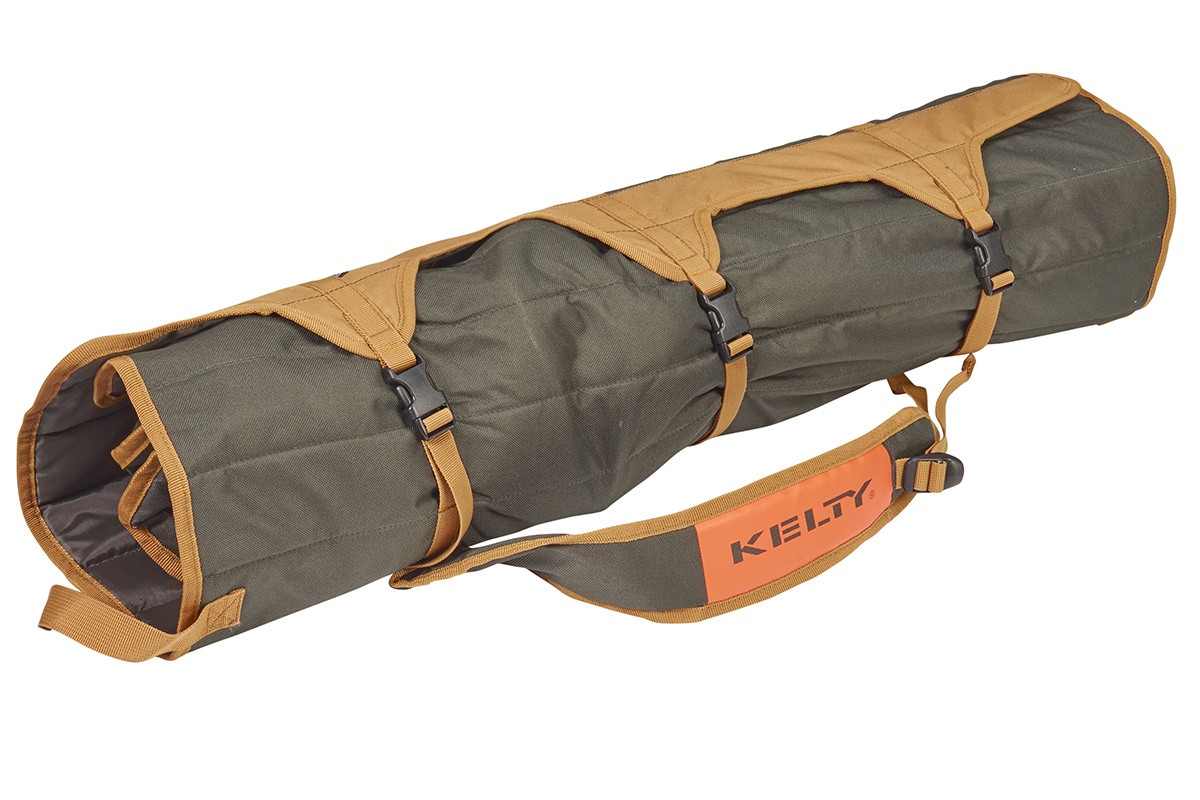 Kelty Lowdown camping chair, Canyon Brown, packed in roll-tote, fully buckled and closed