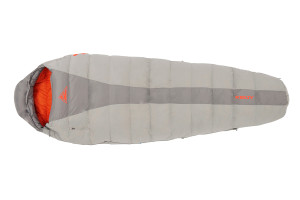 Kelty Cosmic 40 sleeping bag, light gray with dark gray stripe, fully closed