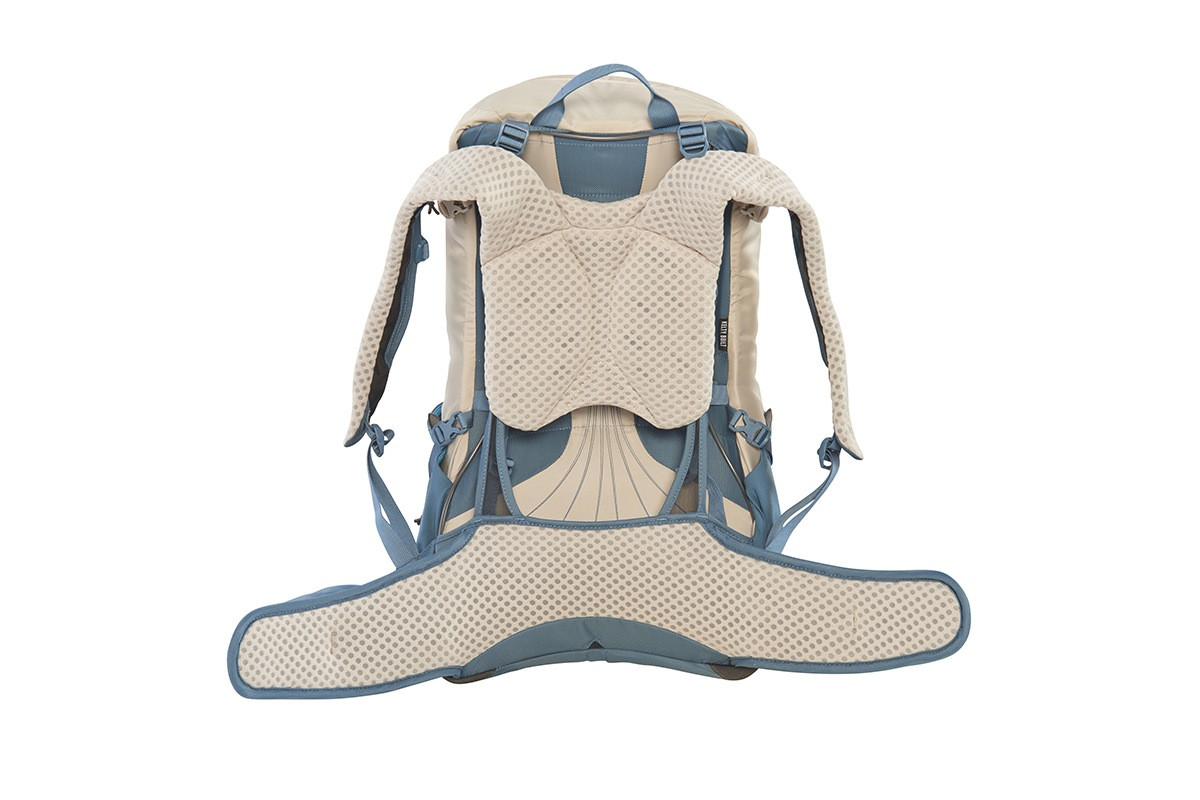 Kelty Women's Zyp 28 backpack, sand, rear view, with waist belt unbuckled