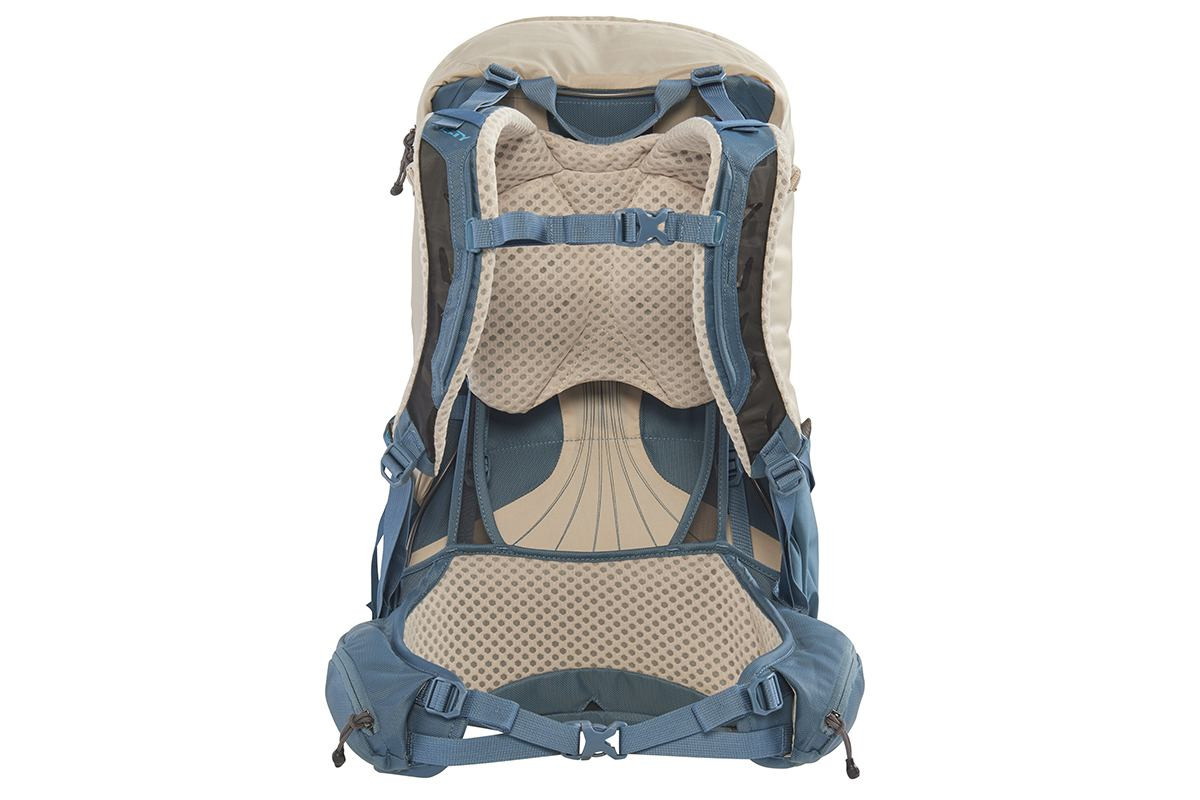 Kelty Women's Zyp 28 backpack, sand, rear view, with waist belt buckled