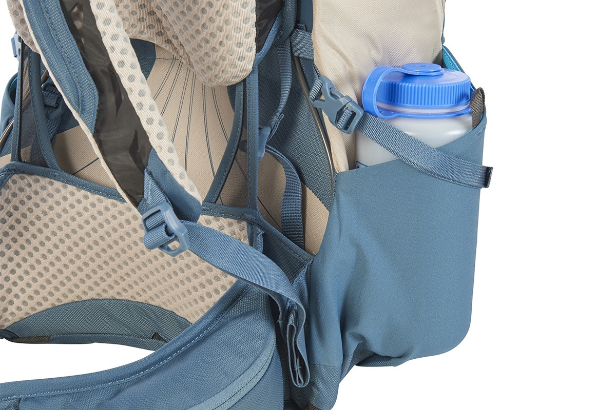 Close up of Kelty Women's Zyp 28 backpack, with water bottle in side pocket