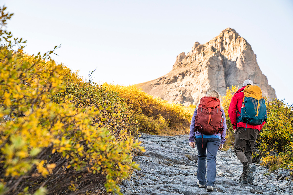 Couple hiking with Kelty Zyp backpacks