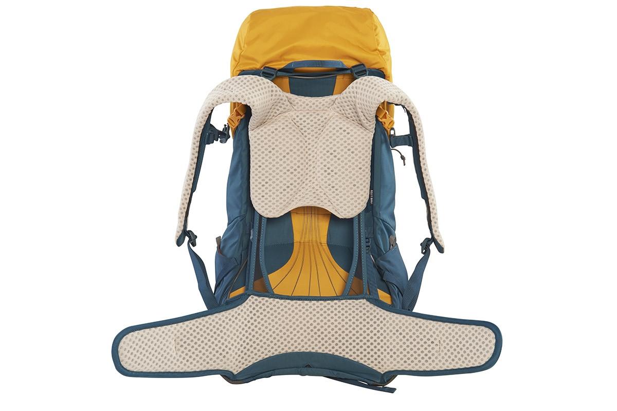Kelty Zyp 38 backpack, Sunflower, rear view, waist belt unbuckled