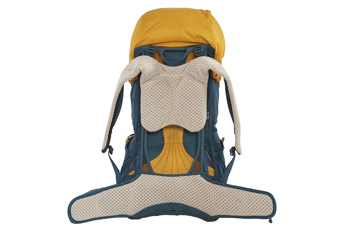 Kelty Zyp 48 backpack, Sunflower, rear view, waist belt unbuckled