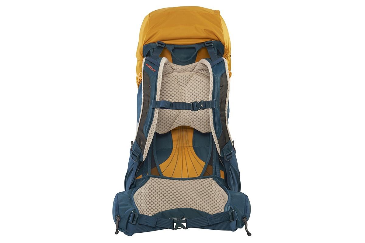 Kelty Zyp 48 backpack, Sunflower, rear view, waist belt buckled