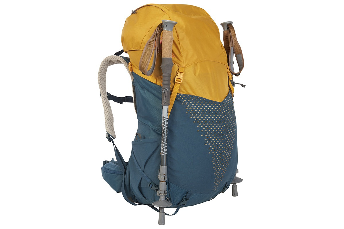 Kelty Zyp 48 backpack, Sunflower, with trekking poles attached to sides of pack