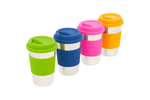 Kelty Stainless 12oz Cup Set, set of 4, in bright green, blue, pink and orange, lined up in a row