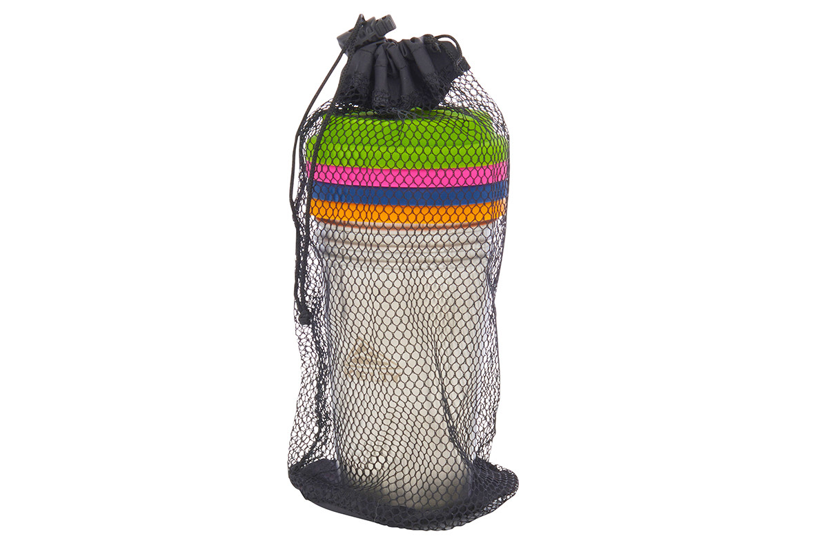 Kelty Stainless 12oz Cup Set, showing cups stacked inside a black mesh carrying bag