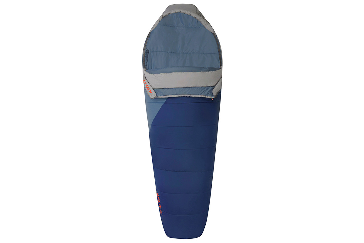 Kelty Stardust 15 sleeping bag, blue, shown unzipped quarter length on on both sides of bag