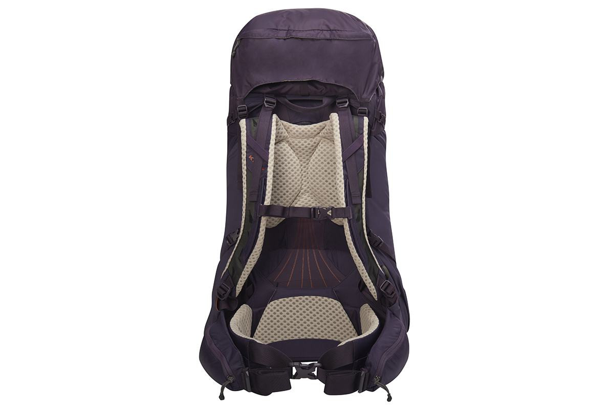 Kelty Women's Zyro 54 backpack, Nightshade, rear view, showing padded shoulder straps and waistbelt